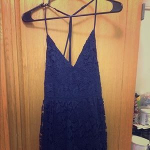 Hollister navy v-neck strapped back dress